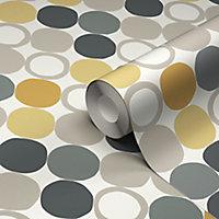 Papier peint vinyle sur intissé GoodHome Lymani jaune 53cm