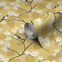Papier peint vinyle sur intissé GoodHome Mahot jaune 53cm