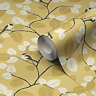 Papier peint vinyle sur intissé GoodHome Mahot jaune