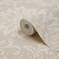 Papier peint vinyle sur intissé GoodHome Mire beige 53cm