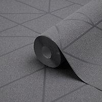 Papier peint vinyle sur intissé GoodHome Patula gris anthracite