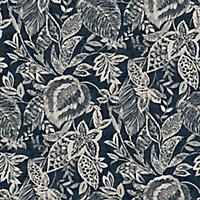 Papier peint vinyle sur intissé Mae bleu foncé 53cm