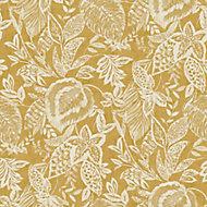 Papier peint vinyle sur intissé Mae jaune ocre 53cm