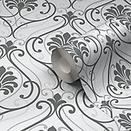 Papier peint vinyle sur papier duplex Blain blanc cassé et charbon de bois