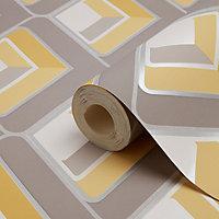 Papier peint vinyle sur papier duplex Glauca gris et jaune