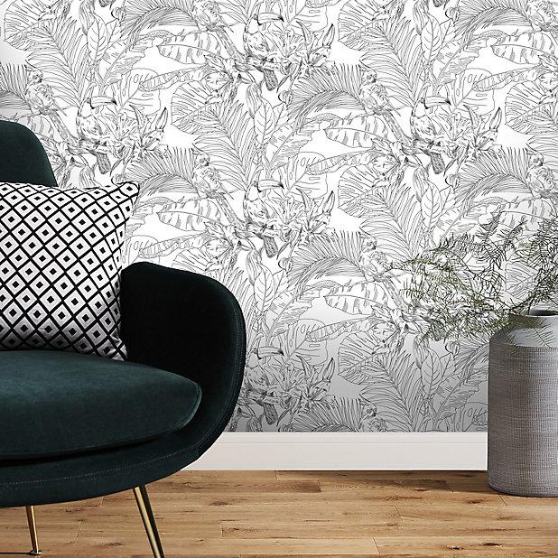 Papier Peint Vinyle Texture Sur Intisse Goodhome Oophoric En Noir Et Blanc Castorama