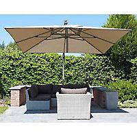 Parasol déporté Easy-Sun taupe 320 x 320 cm