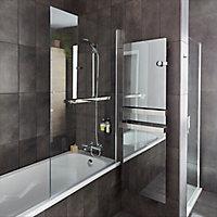 Pare-baignoire 1 volet verre transparent anticalcaire GoodHome Nubia H. 150 x l. 95 cm