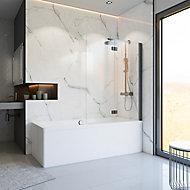 Pare-baignoire 113 x 140 cm, Schulte, paroi de baignoire 2 volets pivotants, verre transparent anticalcaire, gun metal