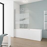 Pare-baignoire 113 x 140 cm, Schulte, paroi de baignoire 2 volets pivotants, verre transparent anticalcaire, Liane