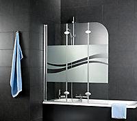 Pare-baignoire 125 x 140 cm, Schulte, paroi de baignoire 3 volets pivotants, verre transparent anticalcaire, Liane