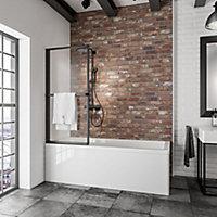 Pare-baignoire 70 x 140 cm, SCHULTE, paroi de baignoire 1 volet pivotant, verre transparent, profilé noir