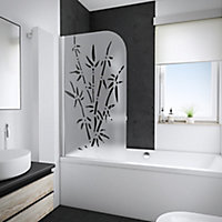 Pare-baignoire 80 x 140 cm, Schulte, paroi de baignoire 1 volet pivotant, verre transparent anticalcaire, Bamboo