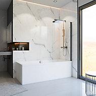 Pare-baignoire 80 x 140 cm, Schulte, paroi de baignoire 1 volet pivotant, verre transparent anticalcaire, gun metal
