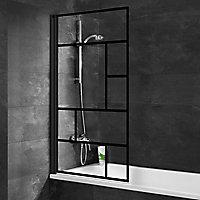 Pare-baignoire 80 x 140 cm, Schulte, paroi de baignoire 1 volet pivotant, verre transparent anticalcaire, version gauche, Atelier