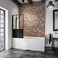 Pare-baignoire 80 x 140 cm, Schulte, paroi de baignoire 1 volet pivotant, verre transparent anticalcaire, version gauche, décor Loft