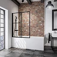 Pare baignoire rabattable et coulissant 2 volets, 70 -118 x 140 cm, Schulte Style Industriel, verre transparent profilé noir