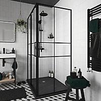 Paroi de douche fixe GoodHome Ahti transparent profilé noir 90 cm