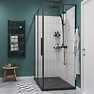 Paroi de douche fixe GoodHome Ezili transparent profilé noir 80 cm