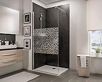 Paroi de douche fixe à l'italienne, 120 x 190 cm, Schulte NewStyle, Walk In, verre transparent anticalcaire, Galets chromés