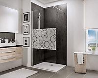 Paroi de douche fixe à l'italienne, 90 x 190 cm, Schulte NewStyle, Walk In, verre transparent anticalcaire, Cercles