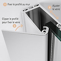 Paroi de douche fixe à l'italienne, 90 x 190 cm, Schulte NewStyle, Walk In, verre transparent anticalcaire, Softcube