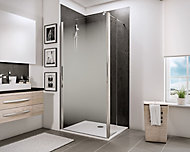 Paroi de douche fixe à l'italienne + déflecteur, 100 x 190 cm, Schulte NewStyle, Walk In, verre transparent anticalcaire, Brouillard