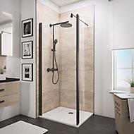 Paroi de douche fixe à l'italienne + déflecteur, 100 x 190 cm, Schulte NewStyle, Walk In, verre transparent anticalcaire, profilé noir