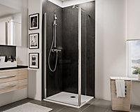 Paroi de douche fixe à l'italienne + déflecteur, 100 x 190 cm, Schulte NewStyle, Walk In, verre transparent anticalcaire