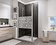 Paroi de douche fixe à l'italienne + déflecteur, 120 x 190 cm, Schulte NewStyle, Walk In, verre transparent anticalcaire, Cercles