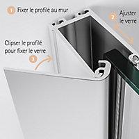 Paroi de douche fixe à l'italienne + déflecteur, 90 x 190 cm, Schulte NewStyle, Walk In, verre transparent anticalcaire, Brouillard