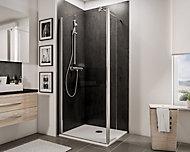 Paroi de douche fixe à l'italienne + déflecteur, 90 x 190 cm, Schulte NewStyle, Walk In, verre transparent anticalcaire