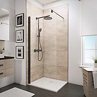 Paroi de douche à l'italienne, 90 x 190 cm, Schulte NewStyle, Walk In, verre transparent anticalcaire, profilé noir
