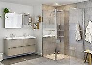 Paroi de douche à l'italienne et volet GoodHome Beloya miroir 77.5 + 45 cm et barre de fixation