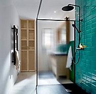Paroi de douche à l'italienne GoodHome Ezili gaufré profilé noir 120 cm