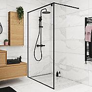 Paroi de douche à l'italienne GoodHome Ezili transparent profilé noir 120 cm
