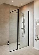 Paroi de douche à l'italienne noir et volet GoodHome Beloya transparent 77.5 + 45 cm et barre de fixation