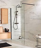 Paroi de douche à l'italienne noir GoodHome Beloya transparente 120 cm