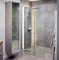 Paroi de douche walk in et volet Cooke & Lewis Zilia transparent 80 + 45 cm