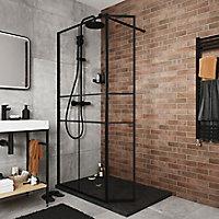 Paroi de douche walk in et volet GoodHome Ahti transparent profilé noir 90 + 28 cm
