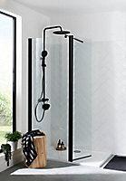 Paroi de douche walk in et volet transparent profilé noir 80 + 45 cm + barre de fixation