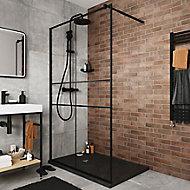Paroi de douche walk in GoodHome Ahti transparent profilé noir 120 cm