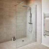 Paroi de douche walk in GoodHome Beloya transparente 120 cm