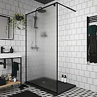 Paroi de douche walk in GoodHome Ezili gaufré profilé noir 120 cm