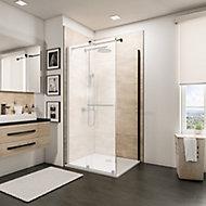 Paroi latérale fixe pour porte de douche coulissante, 90 cm, NewStyle Schulte, verre transparent anticalcaire, profilé noir
