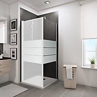 Paroi latérale fixe pour porte de douche pivotante, 80 cm, NewStyle Schulte, verre transparent anticalcaire, dépoli light