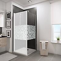 Paroi latérale fixe pour porte de douche pivotante, 90 cm, NewStyle Schulte, verre transparent anticalcaire, Cercles