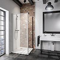 Paroi latérale fixe pour porte de douche pivotante, 90 cm, NewStyle Schulte, verre transparent anticalcaire, profilé noir