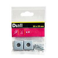 Patin vissés Diall 25*25mm x 4, noir + gris/bleu