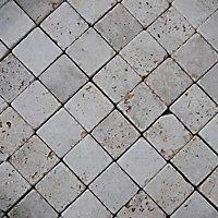 Pavé travertin 10 x 10 cm, ép.4 cm